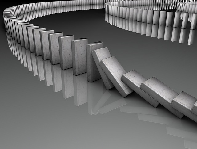 The domino effect is a chain reaction that comes from a small change    Domino Chain Reaction